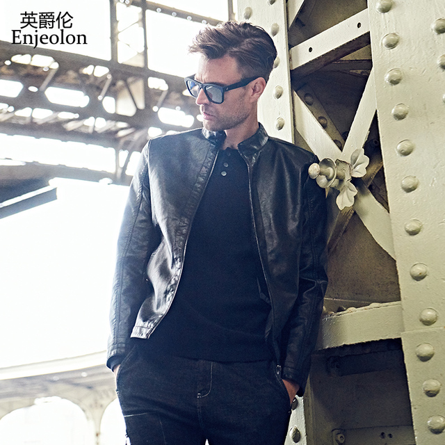 Enjeolon брендовый топ черные мотоциклетные искусственной кожи Куртки Для мужчин, модная зимняя одежда пальто, молния стоять воротник мужской повседневные пальто P316