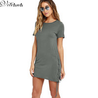 VITIANA Brand Women 2017 Summer Short Sleeve Dresses Black Green Solid Color Sexy Slim Casual Party