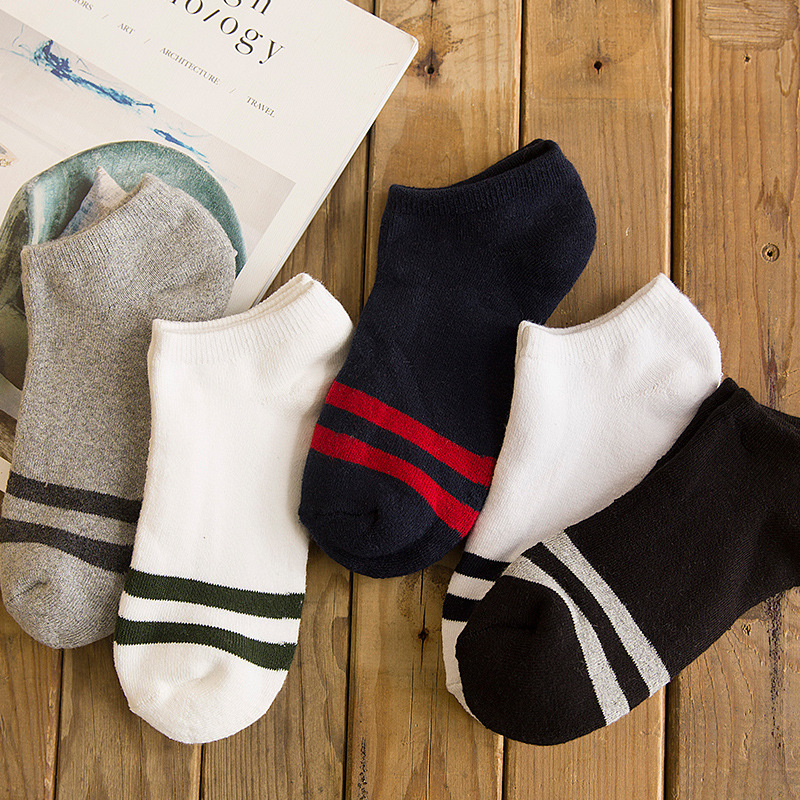 Men Socks Ankle Plus Velvet Thick Cotton Winter Warm Socks Male Harajuku Low Cut No Show Striped Fashion Sports Thermal Socks