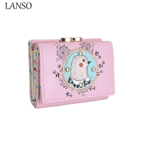 Hot Sale Cute Marmot Embroidery Lace Bird Mini Short Ladies Purse Leather Zipper Small Wallet Purse