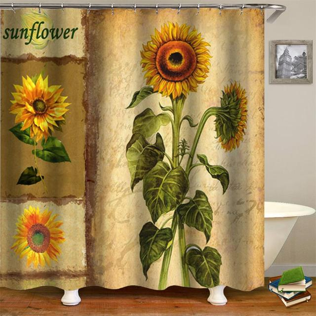 Plants Theme Sunflower Shower Curtain Vintage Style Floral On The Background Of Old Letters And Newspaper Bathroom Curtains
