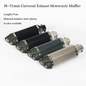 Image 1 - 4 Color 38~51MM Universal Motorcycle Exhaust Muffler With AK Sticker Stainless Steel For Dirt Bike Street Bike Scooter