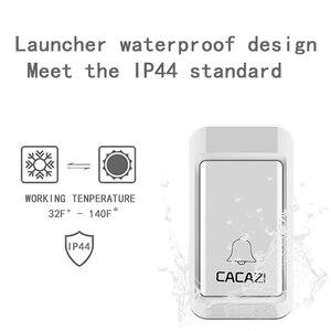 Image 3 - CACAZI sonnette sans fil auto alimentée lumière LED, étanche, sans batterie, sonnette pour maison, prise US ue UK, 38 anneaux, 1 bouton, 1 2 3 récepteurs
