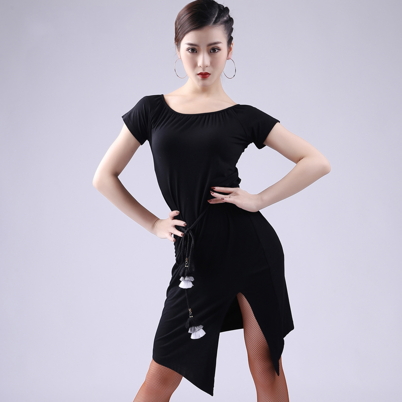 Latin Dance Dress Lady Black Round Neck Split Skirt Women Tango Cha Cha Rumba Samba Dancewear Practice Clothing Adults DNV11645