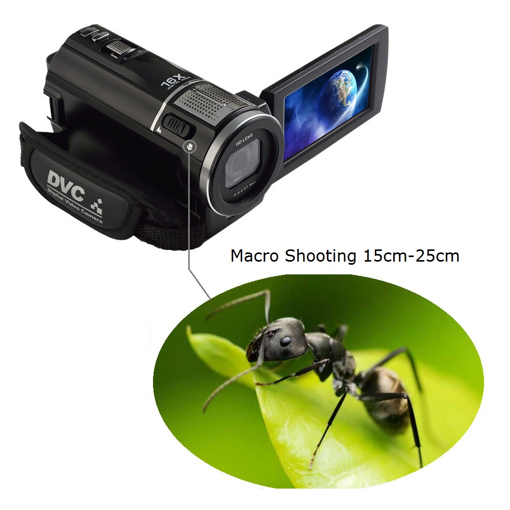 New 3 inch touch Screen 24MP 16x Zoom 1080P 30fps Digital Video Camera Camcorder Optional Wide angle Lens teleconveter lens