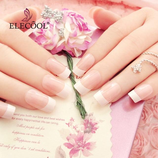 ELECOO Lange Rosa Diamant Französisch Falsche Nägel Mädchen Nagel Quadratischen Kopf Voller Abdeckung Künstliche Gefälschte Nägel mit Kleber Faux Ongles 24 stücke