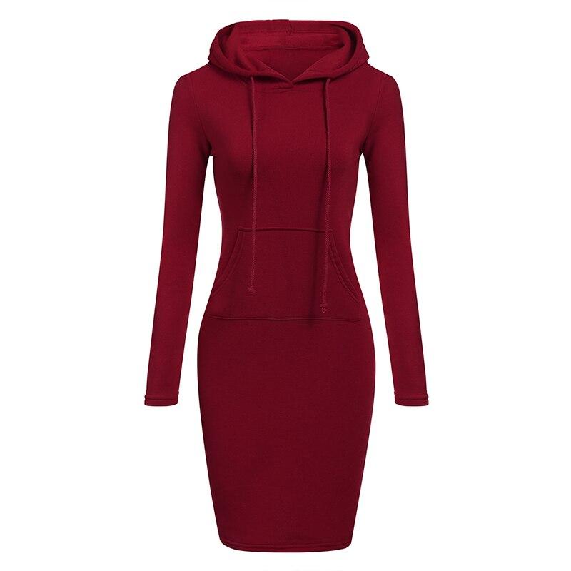 Теплое платье-толстовка с длинным рукавом на осень и зиму 2018, женская одежда с капюшоном, воротником и карманом, простое женское платье
