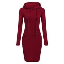 Autumn Winter Warm Sweatshirt Long-Sleeved Dress 2018 Woman Clothing Hooded Collar Pocket Design Simple Woman Dress