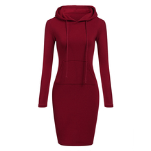 Autumn Winter Warm Sweatshirt Long-Sleeved Dress 2018 Woman Clothing Hooded Coll