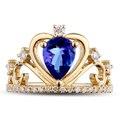 Corona realeza Sapphire14K Natural Amarillo Anillo de Oro Para Las Mujeres Para Siempre Clásico Real Diamante Natural Del Anillo de Bodas Joyería