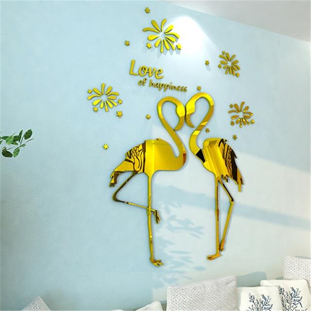 Aliexpress.com : Buy Love birds Acrylic 3D Three dimensional wall ...