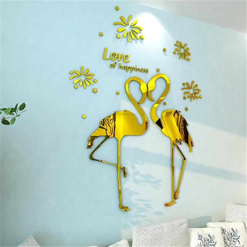 Love birds Acrylic 3D Three-dimensional wall stickers romantic wedding decoration home warm sofa background Mirror Wall Sticker