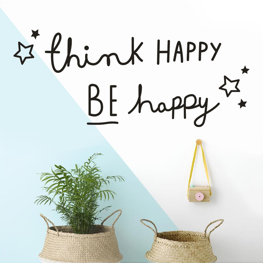 Think Happy Be Happy Wall Sticker Removable Vinyl Mural Art Wall Decals Home Decor 3D Wall Stickers For Living Room
