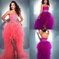 Luxo Ruffles Alta Baixa Vestido Quinceanera para a Festa Mais Fashion Girls Cintura Frisada Querida Curto Frente Tempo de Volta do baile de Debutantes
