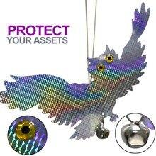 Bahçe lazer yansıtıcı sahte baykuş malzemeleri asılı yansıtıcı baykuş korkuluk korkutuyor kuş güvercinler ağaçkakan kovucu kuşlar