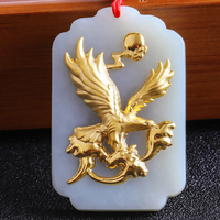 White Natural Hetian Jade 24k Gold Inlaid Carved Flying Eagle Blessing Lucky Pendant + Rope Necklace + Certificate Jewelry 8627