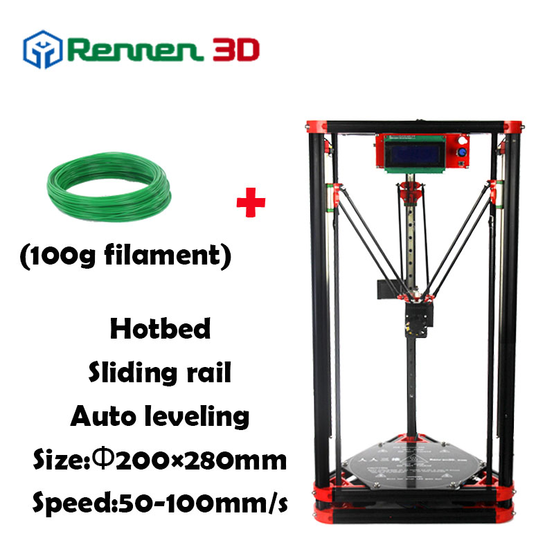 High Precision 3 D Delta 3D Printer Plus Auto Level Kossel Reprap Prusa Rostock 3D-Printer Machine Kit Hot Bed Injection 3d printer parts reprap delta rostock kossel pcb heated bed fr4 round 200 mm 12v or 24 v 120w free shipping