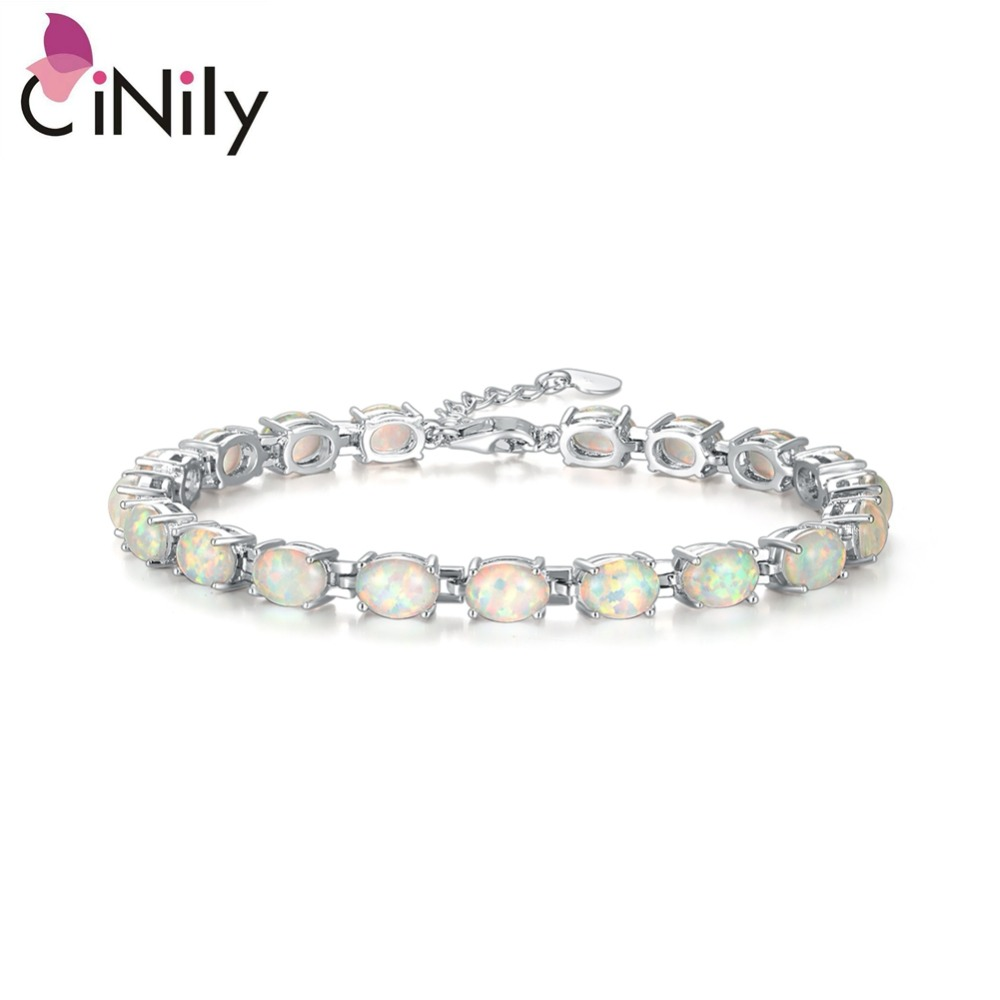 CiNily Created White Blue Fire Opal Silver Plated Wholesale Oval Shape for Women Jewelry Party Chain Bracelet 8.5