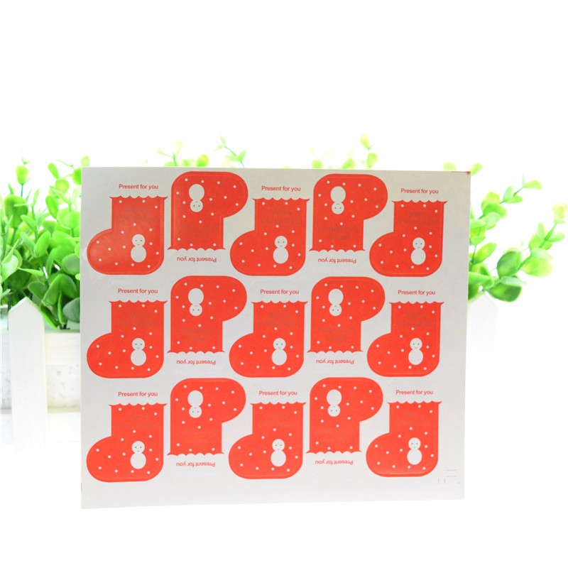 100 sheet 1500 Red XMAS Snowflake Socks Stickers Party Birthday Stamp DIY Handmade Cake Baking label Adhesive Sealing Sticker in Gift Bags Wrapping Supplies from Home Garden