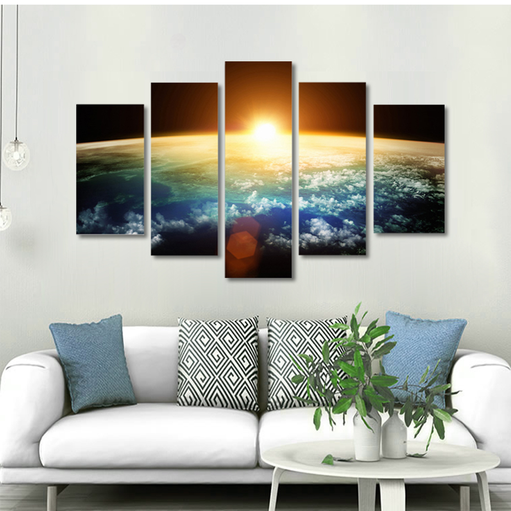 Unframed 5 panel HD Canvas Wall Art Giclee Painting Space Sunset Landscape For Living Room Home Decor Free Shipping