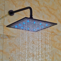16 Inches Oil Rubbed Bronze Brass Rain Shower Head LED Colors Top Sprayer with Shower Arm