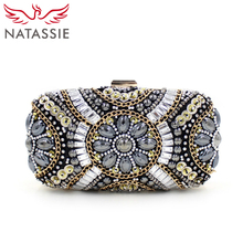NATASSIE Fashion Women Mini Beaded Clutches Purses Luxury Evening Designer Bags Wedding Female Handbags With Chain High Quality