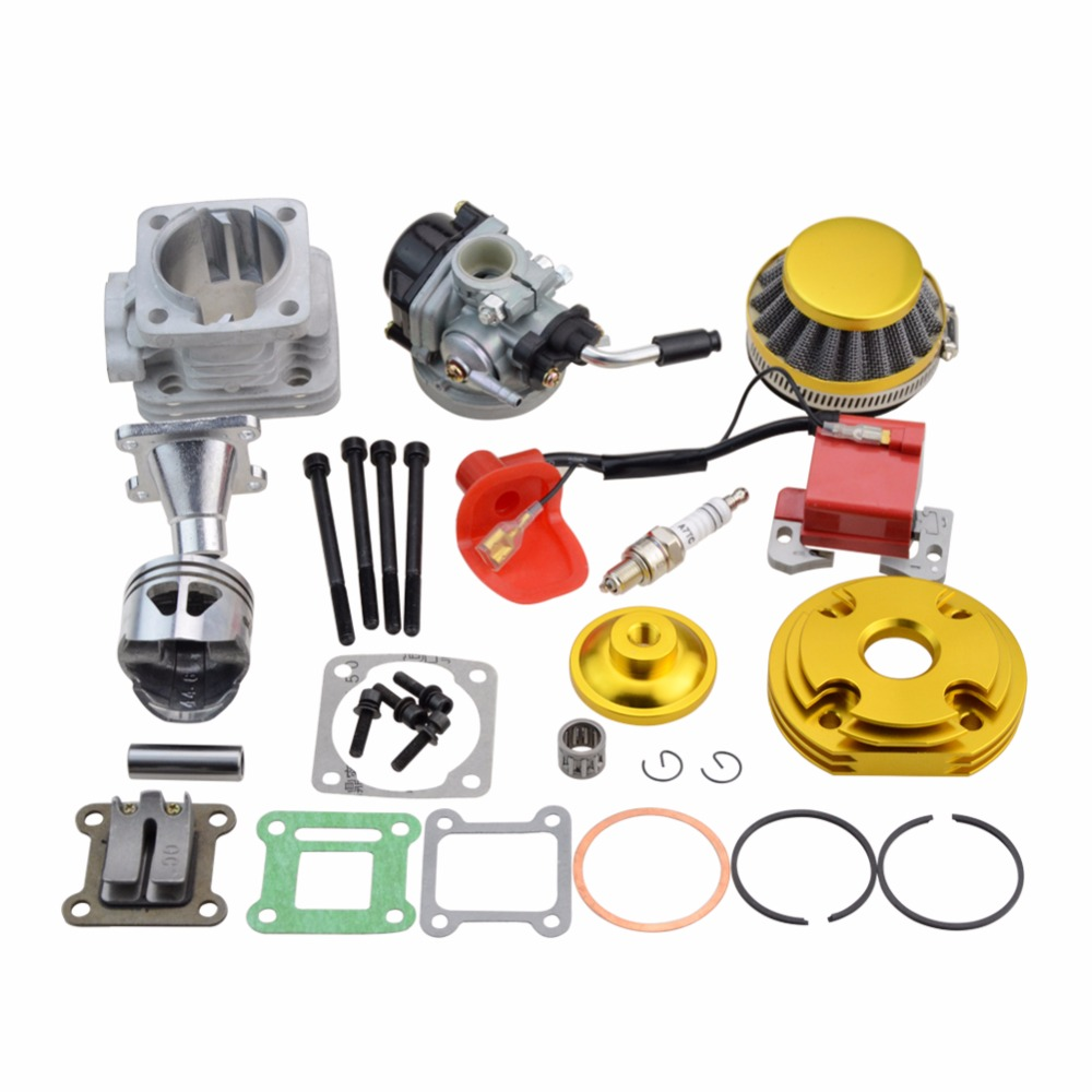 GOOFIT Cylinder Kit Carburetor Air Filter for 2 Stroke 47cc 49cc Pocket Bike Mini ATV Quad Group-118 44mm cylinder piston spark plug gasket big bore kit for 47cc 49cc 2 stroke mini dirt bike mini atv quad pocket bikes mini moto