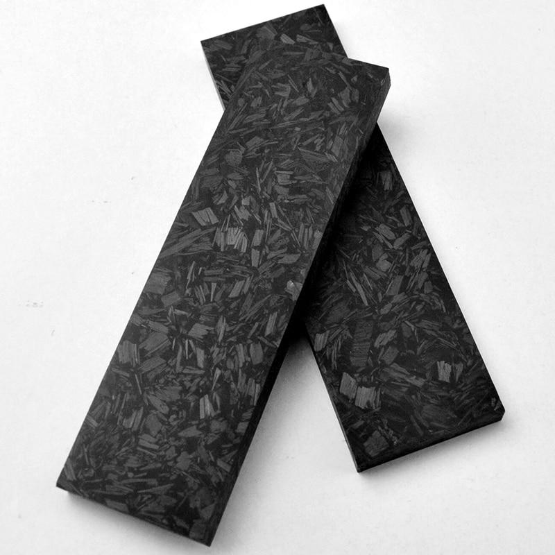 1 Pair Marbled CF Carbon Fiber Marble Black Knife DIY Handle Material Luminous Effect Crushed Carbon, Resin, Luminous Powder