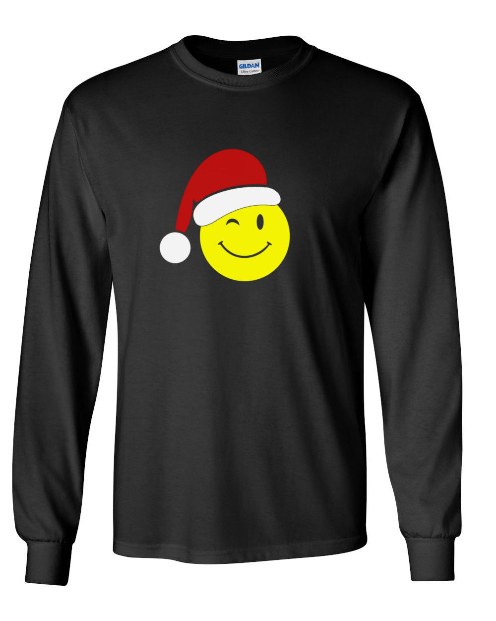 Mens Emoticon Santa T Shirt Christmas Xmas Tee Gift Funny Emojis Long Sleeve