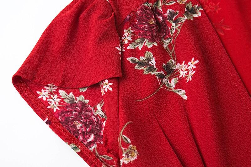 BONGOR LUSS Women Summer Dress 2017 V-Neck Cape Short Sleeve Casual Mini Dress Boho Beach Vinatge Floral Print Dress Sundress (8)