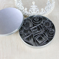 24 Pcs Set Cookie Cutter Mold Stainless Steel 8 Shapes Cake Mold Stamp Sugar Craft Fondant