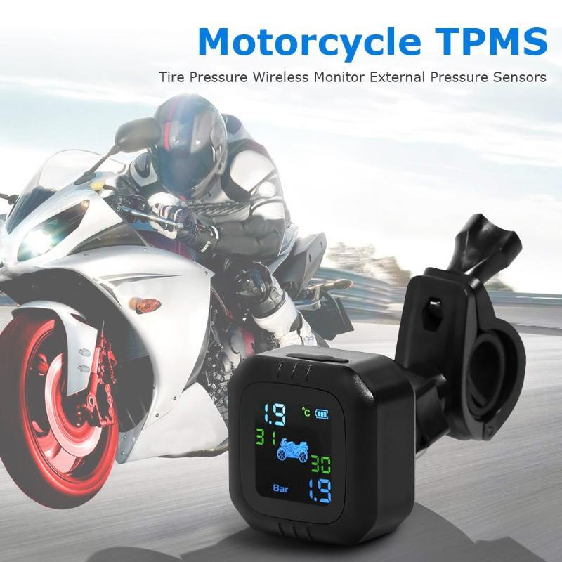 Motorcycle TPMS Wireless Tire Pressure Monitoring System LCD Display Moto Real Time Tyre Pressure Meter Gauge W/ External Sensor