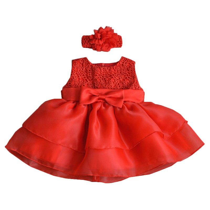 Newborn First Birthday Girls Princess Dress Baby Lace Soft Cute Girls Set Red Dress+Headband 2 Pcs Baby Bebes New Cute Clothes