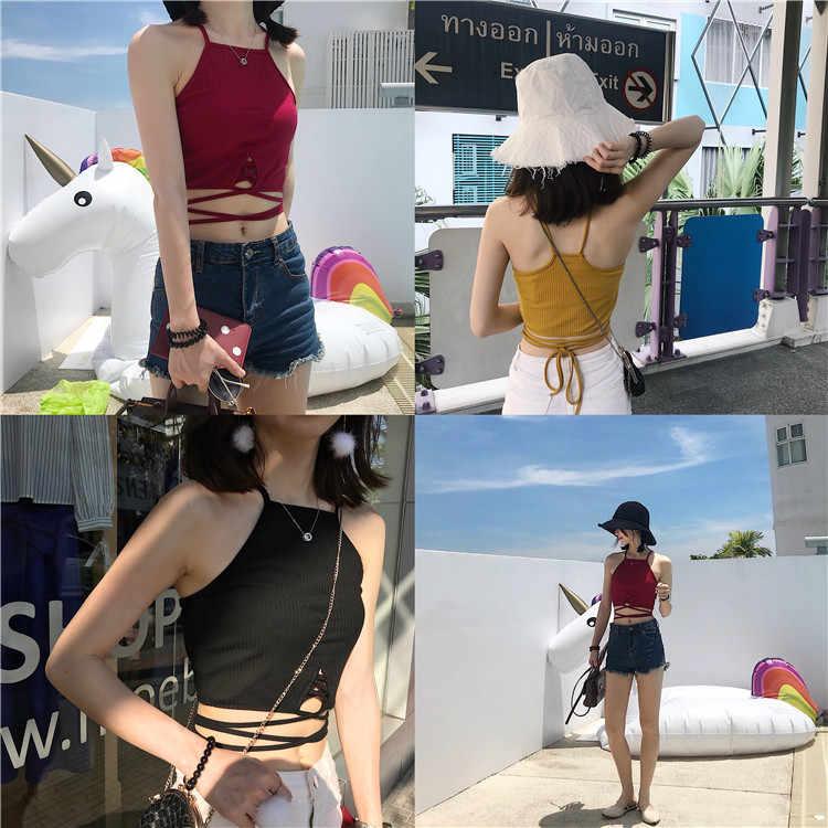 Mihoshop Ulzzang Корейская женская модная одежда летняя повседневная сексуальная классная черная бандажная майка шикарная