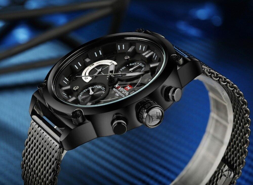 NAVIFORCE, Топ бренд, роскошные часы для мужчин, полностью из нержавеющей стали, кварцевые часы, водонепроницаемые, армейские, военные, спортивны... - 5