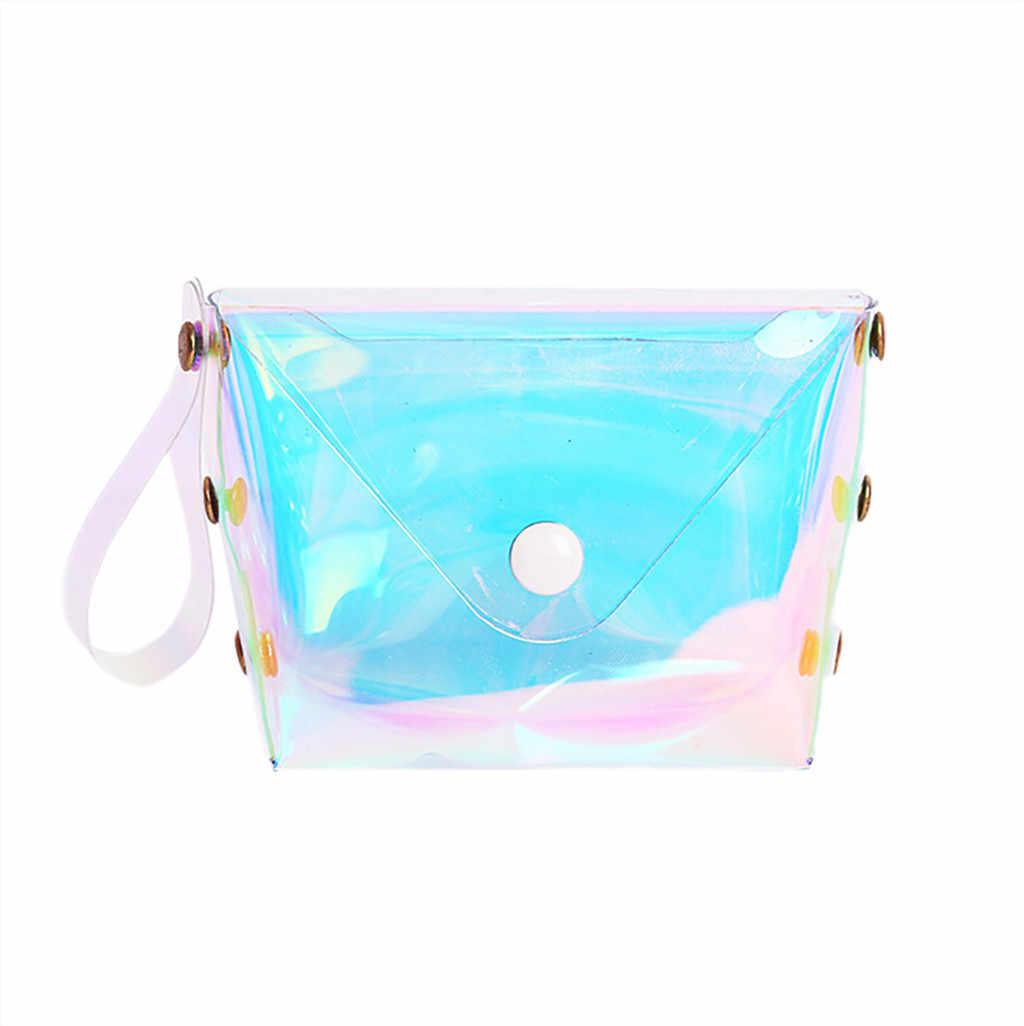 Jelly Dompet Koin In Gadis Jantung Transparan Dompet Kartu Paket Hot Wanita Fashion Laser Tas Flap Tas Patent Kulit # S