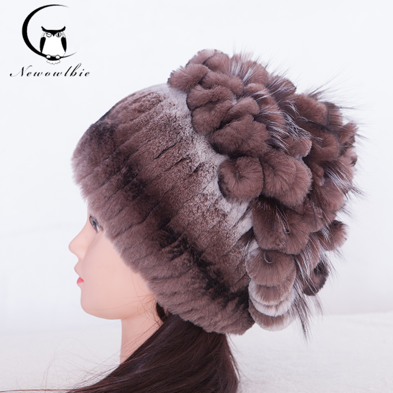 Women's Cap Ear Winter Fur Hat For Women Real Rex Rabbit Fur Hats With Silver Fox Fur Knitted Flower Pattern Hot Women Fur Cap цена 2017