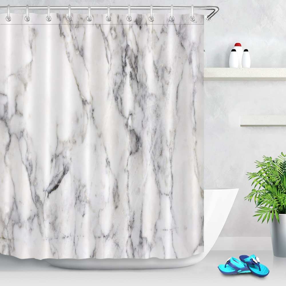 Nature Marble Grunge Stone Print Shower Curtain Set Bathroom Black And White Waterproof Eco Friendly Polyester Fabric For Decor In Curtains From Home