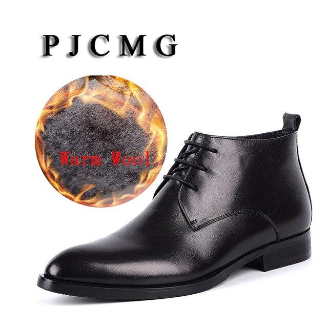 PJCMG Yüksek Kalite Erkekler Siyah Dantel-up Ayak Bileği su geçirmez kauçuk Rahat Hakiki Deri Elbise Düğün Ile Askeri Sıcak Yün Çizmeler