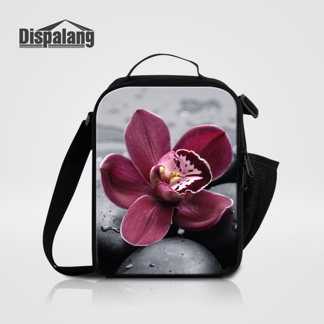 Dispalang Small Lunch Bag For Office Worker Flower Printing Insulated Kids Totes Carry Thermal Portable