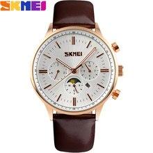 2016 Nueva SKMEI popular Marca de Los Hombres Relojes de moda Relojes de Pulsera de cuarzo analógico 30 M impermeable auto fecha mes de calidad banda de cuero