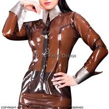 Прозрачная коричневая Сексуальная латексная блузка с серебряными манжетами на пуговицах спереди резиновая рубашка верхняя одежда размера плюс YF-0061