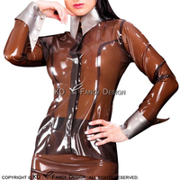 Прозрачный коричневый пикантные латексная блузка с серебряные манжеты кнопки на передней резиновая рубашка верхняя одежда Костюмы плюс Ра