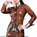 Blouse Sexy en Latex brun Transparent avec poignets argentés boutons à l'avant en caoutchouc petit haut vêtements grande taille YF 0061