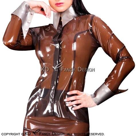 Transparant Bruin Sexy Latex Blouse Met Zilveren Manchetten Knoppen Op Front Rubber Shirt Top Kleding kleren Plus Size YF 0061