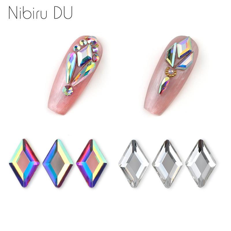 20pcs Nail Art Rhinestones Decorations Rhombus Clear/Crystal AB Rhinestones 3D Designs Glass For DIY Nails Art Stones Decoration