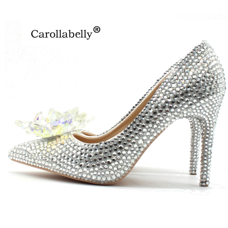 2018 New Rhinestone High Heels Cinderella Shoes Women Pumps Pointed toe Woman Crystal Wedding Shoes high heel big size cinderella high heels crystal wedding shoes 14cm thin heel rhinestone bridal shoes round toe formal occasion prom shoes