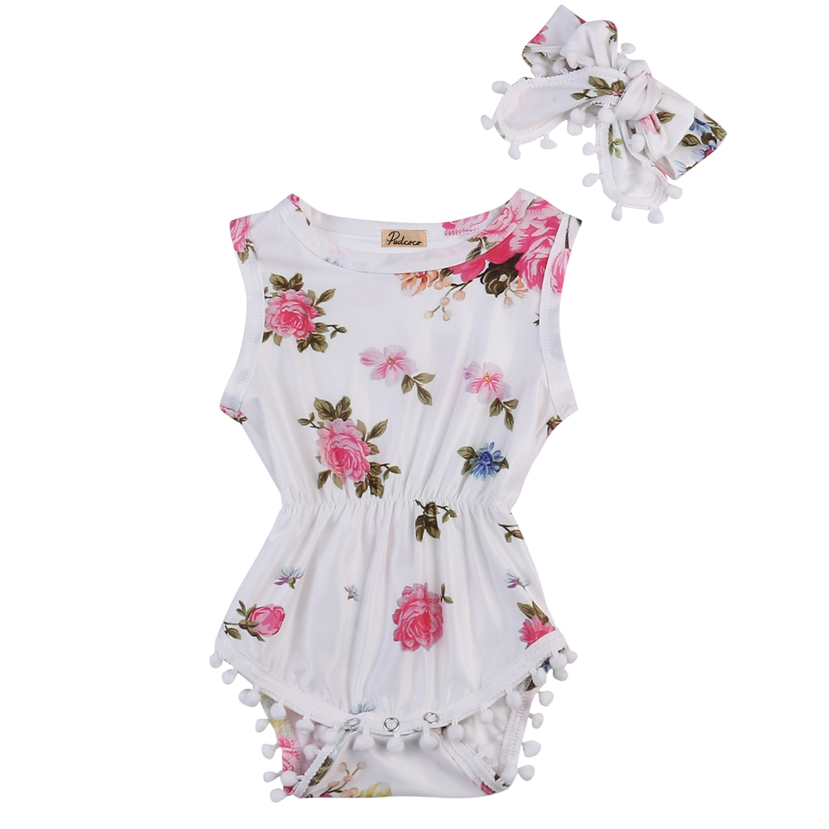 Hi Hi Baby Store Infant Baby Girls Floral Print Sleeveless Cotton  Bodysuits + Headband 0-24M