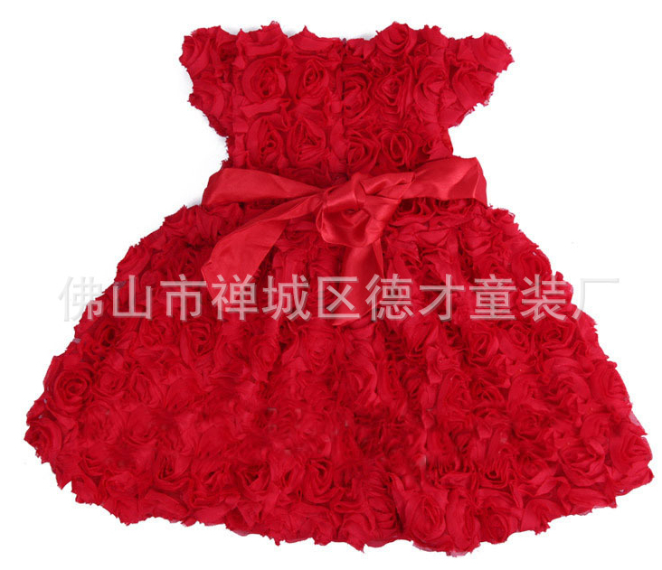 Free shipping    Fashion Kids Rose Flower Christmas New Year Girl Dress Baby Girls' Dresses Red Children Clothing джинсы mango man mango man he002emztt07