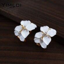 Cute Girl Women Alloys New 18k Gold Filled Enamel Austrian Crystal Rhinestone Flower Bijoux Stud Earrings For Wedding E164